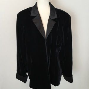 Coldwater Creek XXL Open Velvet Black Blazer